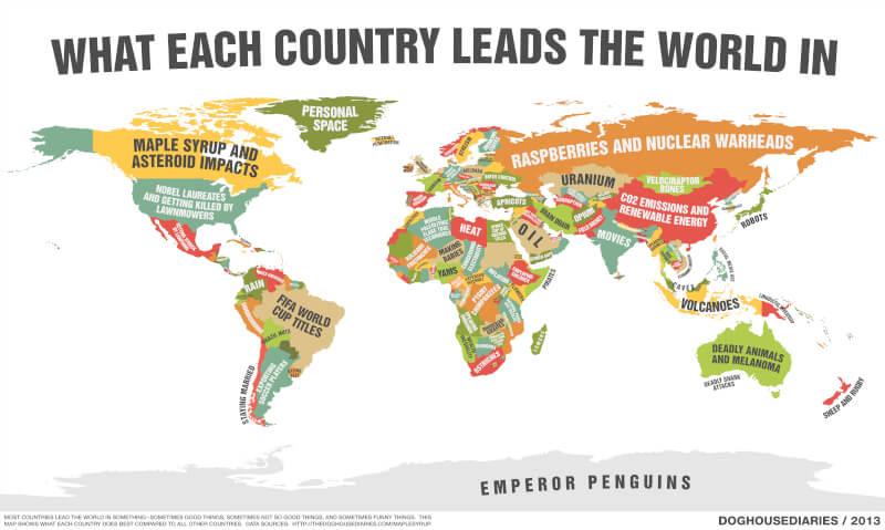 o harta care-ti arata pentru ce sunt recunoscute tarile de pe Planeta